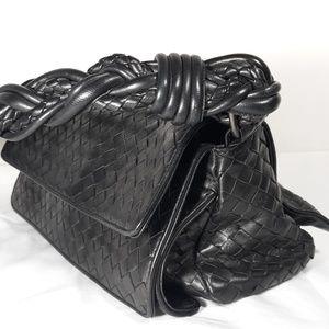 BOTTEGA VENETA Nappa Intrecciato Nero Flap bag